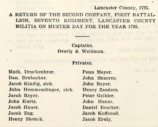 Lancaster Regiment 1795