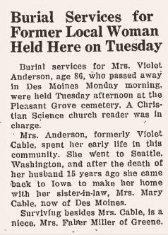 Cable, Violet obituary 1942