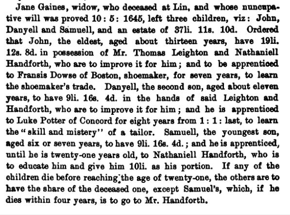 Gaines, Jane will 1645