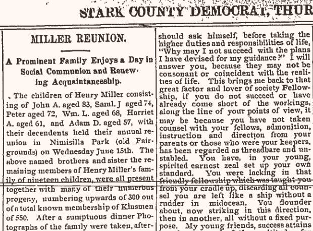 Miller family reunion 1898