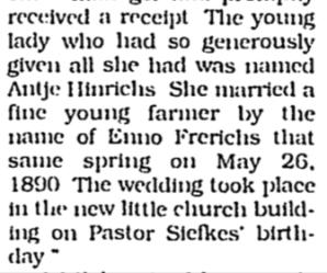 Henrichs, Annie, Ebenezer Church