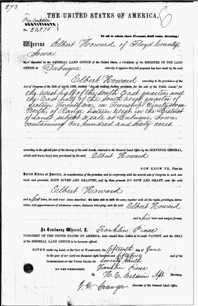 Howard, Elbert 1855 land purchase