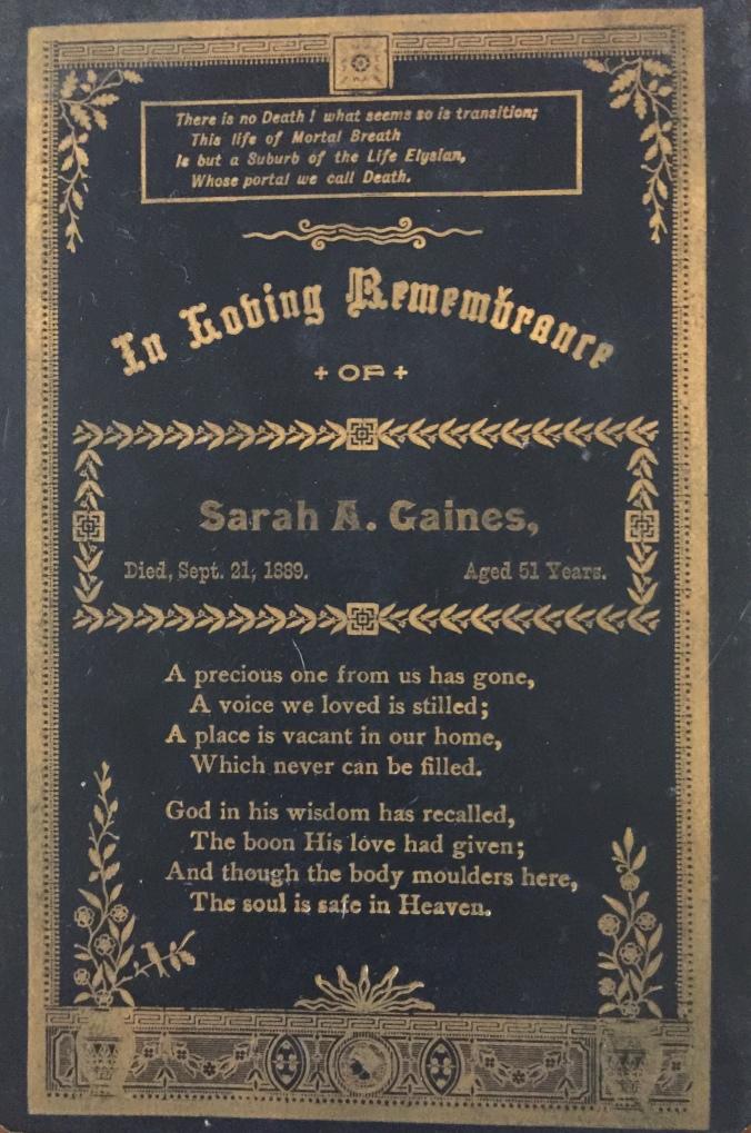 Swain, Sarah 1889 funeral card