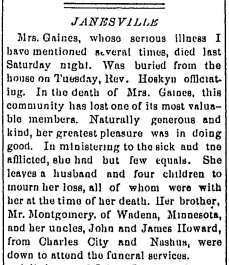 Swain, Sarah 1889 obituary