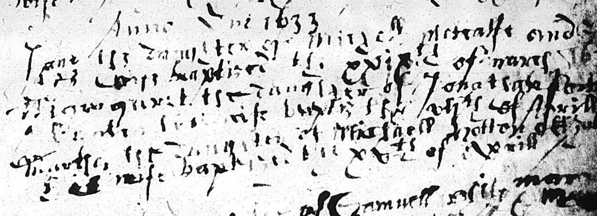 Metcalf, Jane 1633 baptism