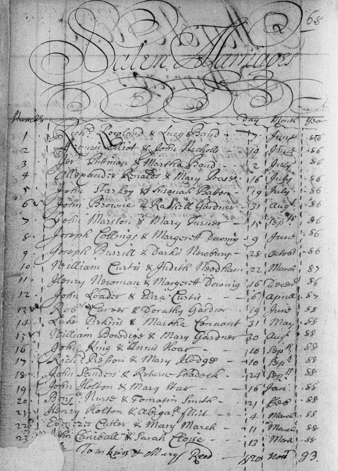Connable, John and Sarah Cloyes 1688 marriage