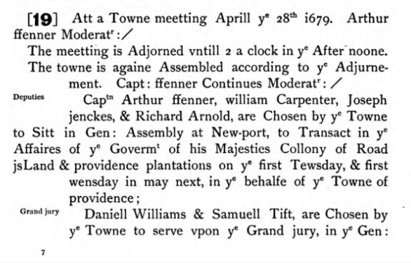 Samuel Tefft and Daniel Williams elected the Grand Jury, 1679