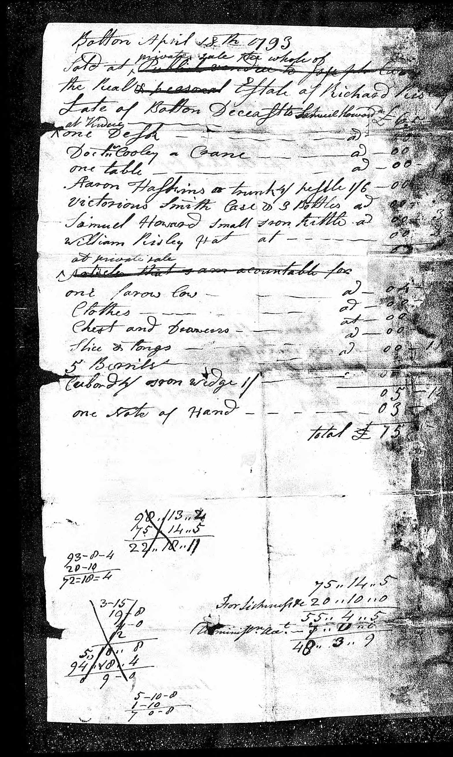 Risley, Richard estate papers page 4