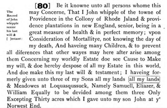 John Whipple's will 1682