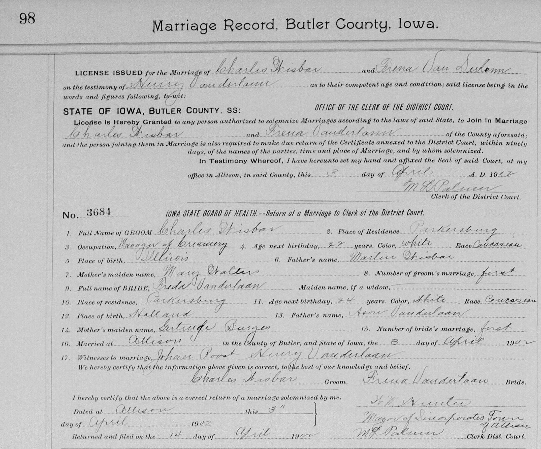 Wisbar, Charles and Trena Vanderlaan 1902 marriage 2