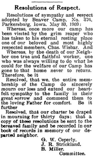 Wisbar, Charles Woodman's resolution