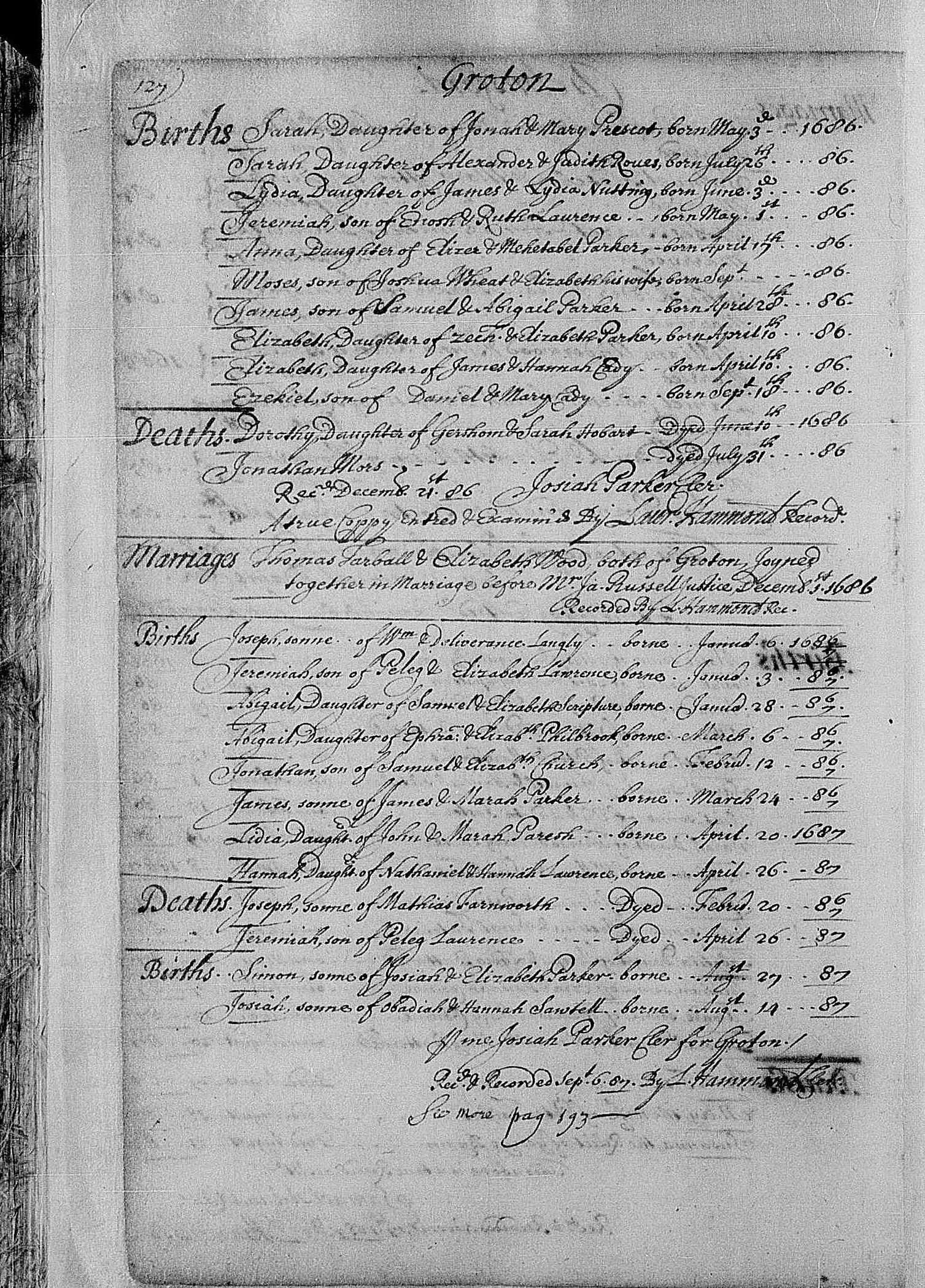 Parrish, Lydia 1687 birth register