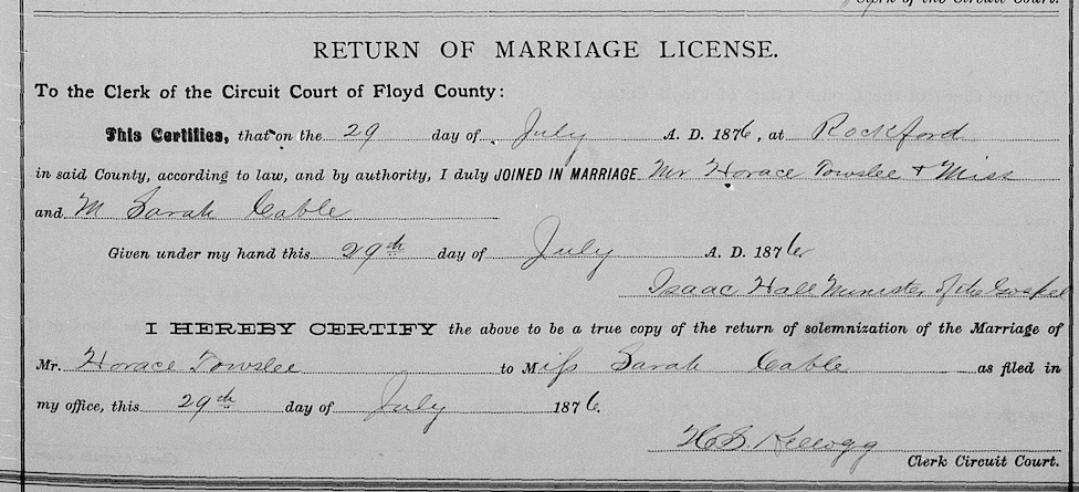 Cable, Sarah 1876 marriage