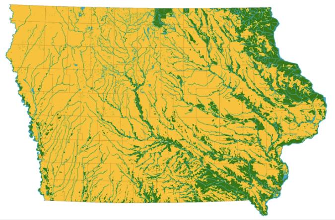 Iowa map 1830-50 showing prairie