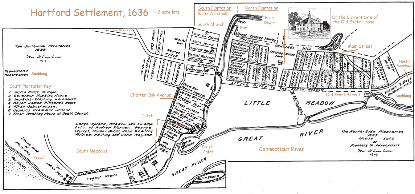 1636 Hartford map