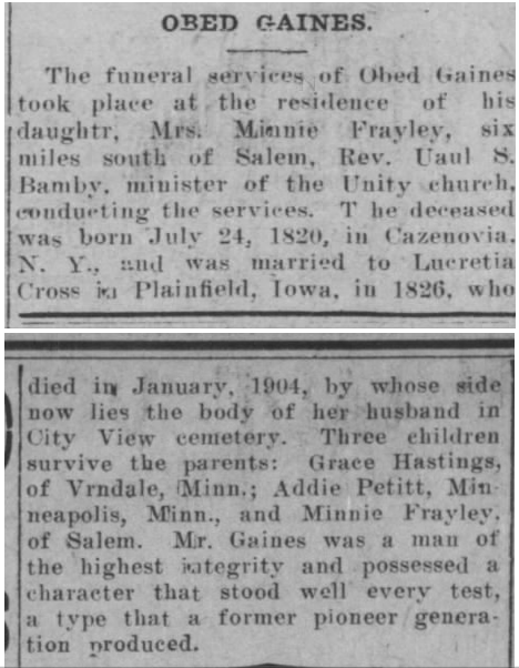 Gaines, Obed obituary newspaper clipping