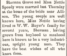 Speedy, Annette and Sherman Grove 1889 marriage