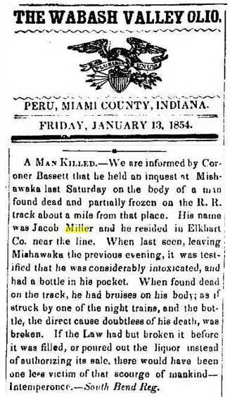 Miller, Jacob d. 1854 newspaper snapshot