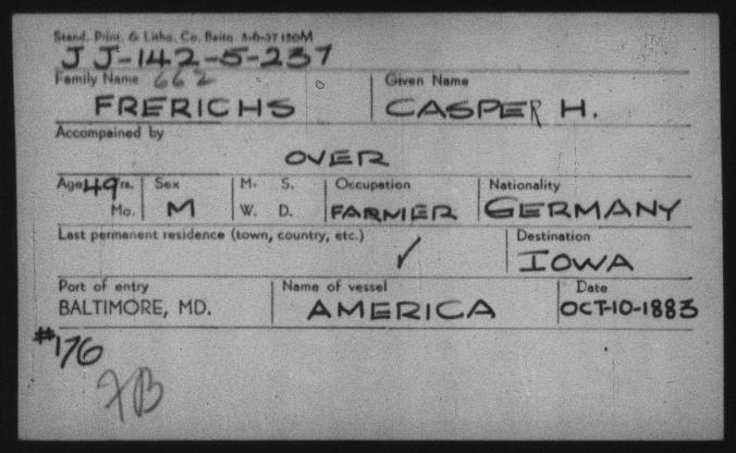 Frerichs, Casjen arrival 1883 card