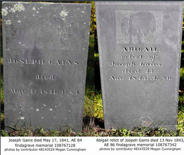 Gaines, Joseph and Abigail Tubbs headstone