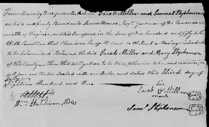 Miller, Jacob Sr marriage 1802