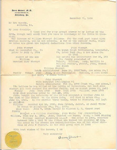 Stewart, Henry letter to Harve Dec 31 1939