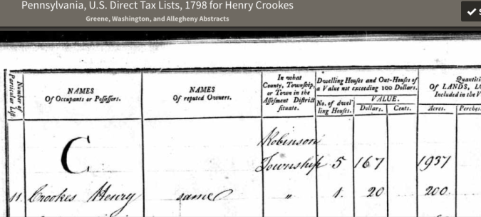 Crooks 1798 taxes