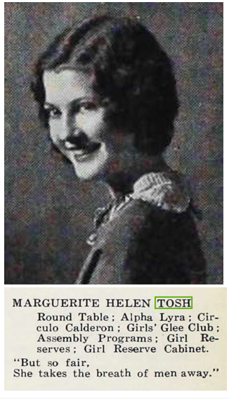 Tosh, Marguerite 1930 yearbook photo